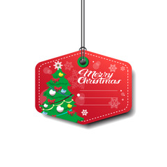 Tamplate Merry Christmas Tag With Pine Tree On Red Isolated On White Background Flat Vector Illustration