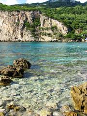 paleokastritsa blue lagoons coast landscape ionian sea on Corfu island