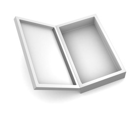 Realistic white box isolated on white background. 3d illustration