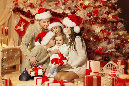 christmas family portrait happy father mother teenager child and