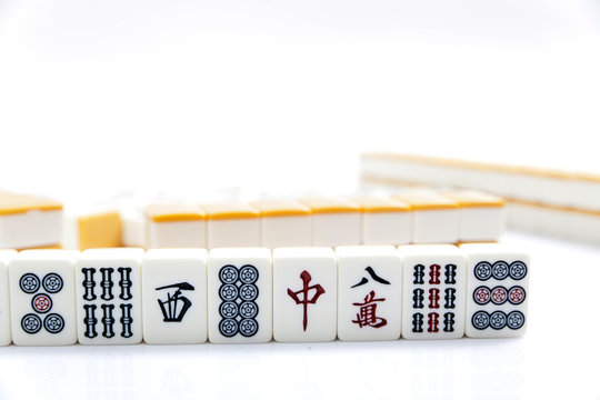 Mahjong pieces on white background