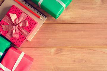 top view christmas gift box on wood table