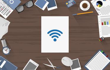 Wifi - Dokument auf Schreibtisch