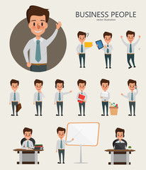 Set of Businessman character design. Cartoon vector in job.