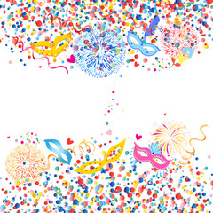Vector colorful round confetti and fancy mask spike