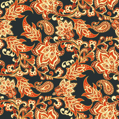floral seamless vintage background with paisley