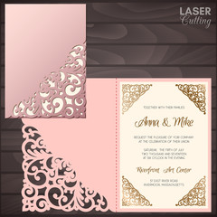 Paper greeting card with lace corner. Wedding invitation or greeting card template. Suitable for laser or die cutting.