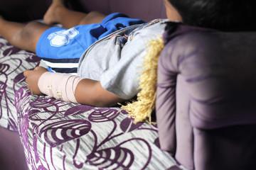 Children left hand bone broken from accident with arm splint