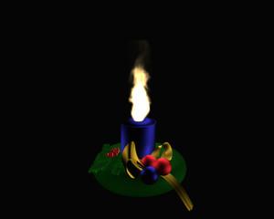 Adventskranz mit brennender, blauer Kerze auf schwarzem Hintergrund