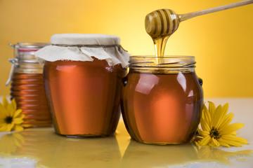 Jar of liquid honey