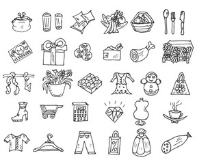 Shopping icons doodles, Sale. hand drawn style. Excellent vector illustration, EPS 10