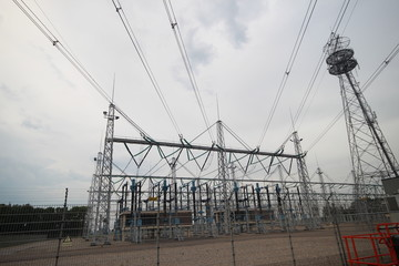 Powerstation with electricity wires in Ens, Netherlands