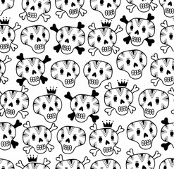 Black and white seamless background with funny skulls.