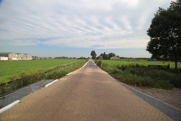 Road in the middle of the lowest area of Netherlands, the Zuidplaspolder