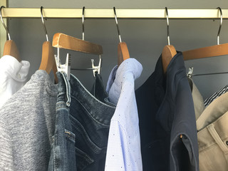 Mens clothing hanging