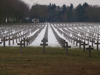 Grave stones on the war cemetery with German soldiers, Ysselstein, The Netherlands