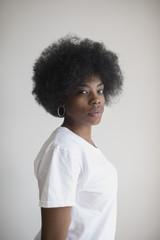 Portrait of woman with an afro