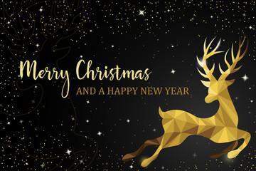 Wall Mural - christmas reindeer gold card