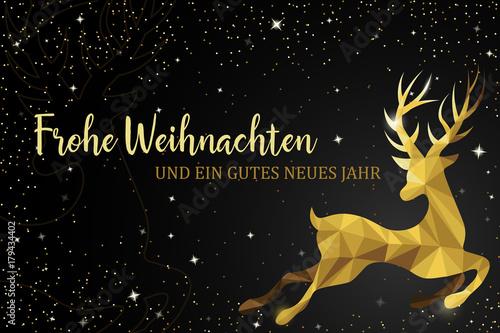 Weihnachten und Neujahr Rentier gold Karte polygon\