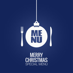 christmas menu with christmas ball, fork and knife design background