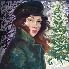vector beautiful girl in coat and hat in winter park near Christmas tree