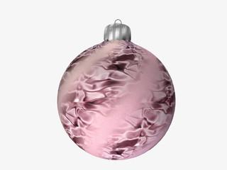 Christbaumkugel in rosa mit Muster auf weiß isoliert