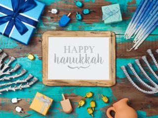 Jewish holiday Hanukkah background with photo frame
