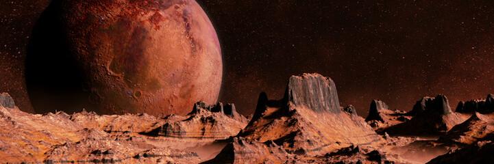 scenic alien planet landscape at night