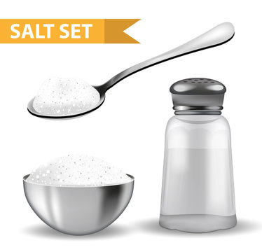 Realistic 3d set with  salt shaker,  spoon of salt,  steel bowl. Isolated on white background. Glass jar for spices. Ingredients for cooking concept. Vector illustration