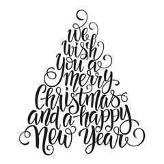 Christmas hand drawn lettering. Winter holidays. Vector Illustration EPS10.