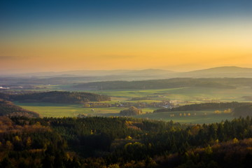 Autumn aerial view to czech countryside on sunset