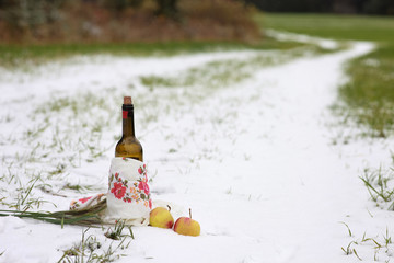 Picnic in the field on the first snow. The composition includes red wine, oats, apples.