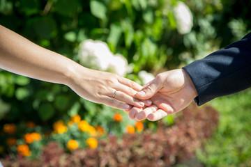 Man and women hands