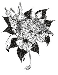 Flamingo with Hibiscus vector by hand drawing.Birds and flower tattoo highly detailed in line art style.Flower tattoo black and white concept.