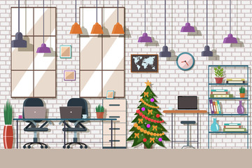 Vector illustration of  co working space. Christmas working place