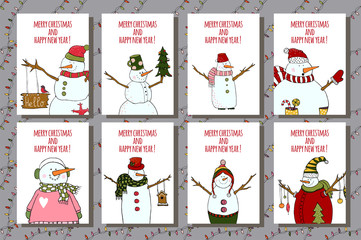 Vector post cards with Christmas and new year illustration. Winter design with cartoon snowman. Xmas design