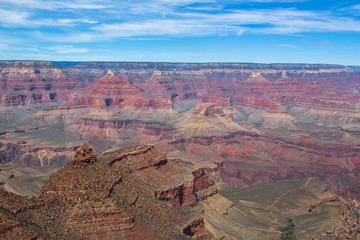 Grand Canyon South Rim in winter blue sky Arizona USA
