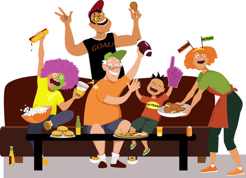 Family watching a football game on TV, eating and cheering, EPS 8 vector illustration
