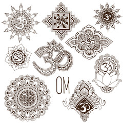 A set of ohm symbols decorated in the mehendi style.
