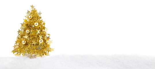 Goldener Weihnachtsbaum im Schnee - Panorama