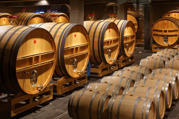 Oak barrels, Champagne, Reims, France