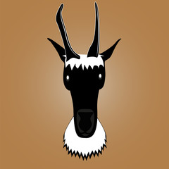 Picture of a goat's silhouette for a logo, emblem, badge, label, template, design element.