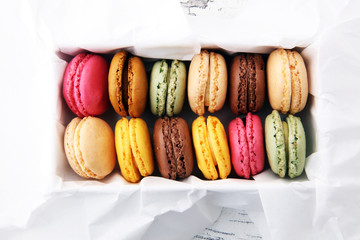 Self adhesive Wall Murals Macarons Different types of macaroons or macarons in a box.