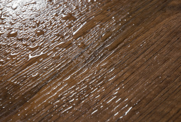 Brown wood texture with Water Drops. Abstract background, empty template