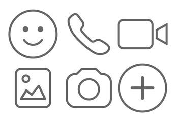 Simple social media icon set, vector illustration