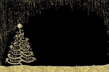 Christmas golden tree card.
