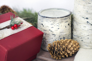 natural style stock photo of christmas scene with birch, pine cones and present