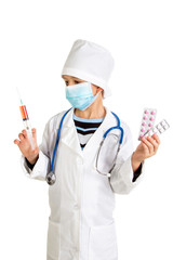 Medical treatment by doctor prescription. Doctor with pills, mask, syringe.