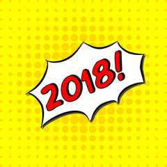 2018 - Comic Text, Pop Art style. Free handdrawn typography lettering with yellow dotted halftone background. Vector illustration of text message