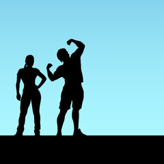 fitness coaches silhouettes